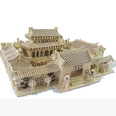 voordelige 3D-puzzels-3D-puzzels Modelbouwsets Houten modellen Beroemd gebouw Huis Shaolin-tempel DHZ Puinen Natuurlijk Hout Kinderen Unisex Speeltjes Geschenk