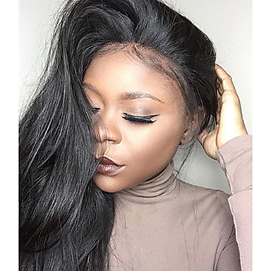 Virgin Human Hair Lace Front Wig Brazilian Hair Straight Wig 130% Hair Density Natural Hairline For Black Women 100% Hand Tied Natural Black Women's Short Medium Length Long Human Hair Lace Wig