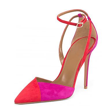 Mulheres Sapatos Courino Verão D'Orsay / Sapatos formais Sandálias Salto Agulha Dedo Apontado Presilha / Combinação para Social / Festas