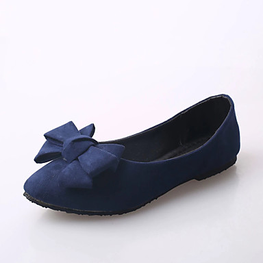 Women's Shoes PU Spring Summer Comfort Light Soles Flats Flat Heel Round Toe for Casual Dress Black Red Blue