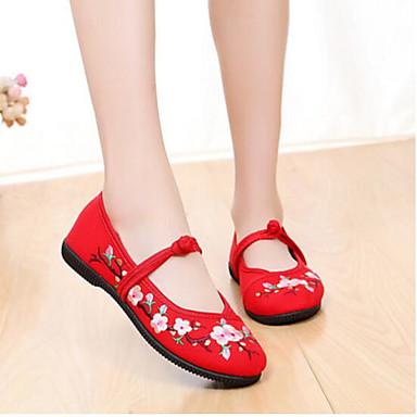 Dame Sko Tekstil Flate sko Til Svart Rød