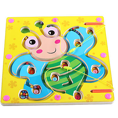 Chess Game Maze Magnetic Maze Toy Flat Shape Magnetic Wood Iron Kid's Gift 1pcs