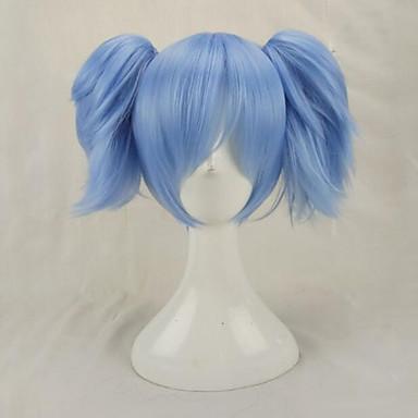Perucas sintéticas Liso Com rabo de cavalo Cabelo Sintético Azul Peruca Mulheres Médio Sem Touca Azul Claro hairjoy