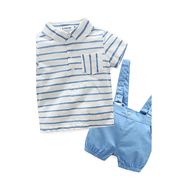 Baby Boys' Stripes Holiday / Going out / Casual / Daily Stripe Short Sleeves Clothing Set
