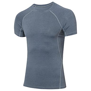 Herre Grunnlag T-skjorte til jogging Kortermet Fitness, Løping & Yoga Fort Tørring Kompressjonsklær Topper til Yoga & Danse Sko Trening &