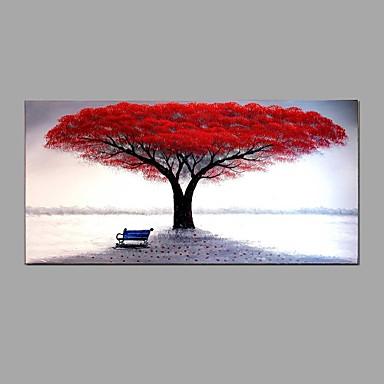 Pintura a Óleo Pintados à mão - Floral / Botânico Abstracto Incluir moldura interna / Lona esticada