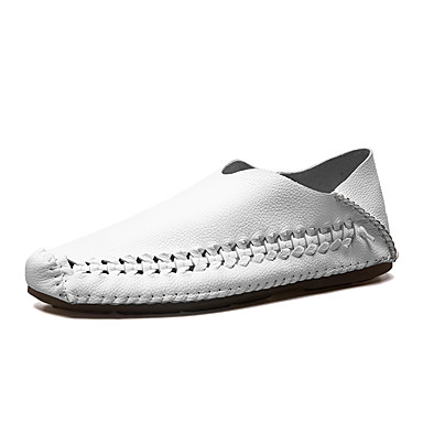 Herre sko Lær Vår / Høst Komfort En pedal Hvit / Svart / Kakifarget