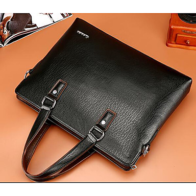 Men's Bags Cowhide Briefcase for Casual Outdoor All Seasons Black Brown