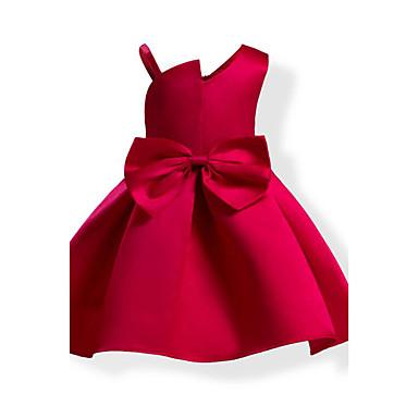 Infantil Para Meninas Laço Côr Sólida / Moderno / Laço Sem Manga Algodão Vestido Azul