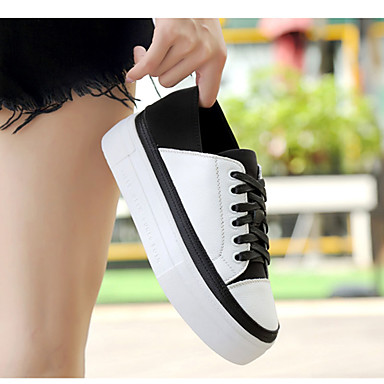 Women's Shoes Cowhide Spring / Fall Light Soles Sneakers Walking Shoes Flat Heel Round Toe Lace-up Black / White