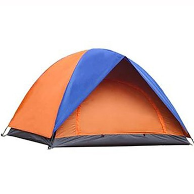 2 person Tent Double Layered Camping Tent Outdoor Waterproof, Rain-Proof, Foldable for Camping / Hiking 1000-1500 mm Glass fiber, Terylene