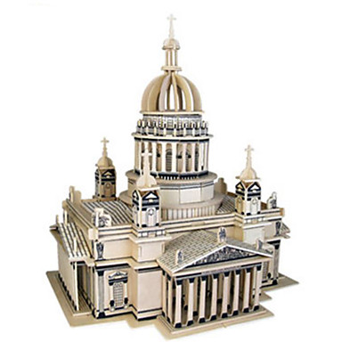 3D Puzzles Jigsaw Puzzle Wooden Puzzles Model Building Kit Church Architecture Other 3D DIY Natural Wood Classic Unisex Gift