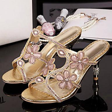 Mulheres Sapatos Microfibra Verão Outono Conforto Inovador Chanel Sandálias Caminhada Salto Agulha Dedo Aberto Pedrarias Cristais Gliter