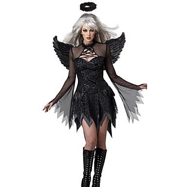 Engel & Demon Cosplay Cosplay Kostumer Maskerade Party-kostyme Kvinnelig Festival/høytid Halloween-kostymer Svart Halloween Karneval