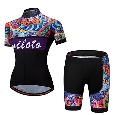 Miloto Women's Short Sleeve Cycling Jersey with Shorts - Rainbow Plus Size Bike Clothing Suit Polyester, Spandex Patterned