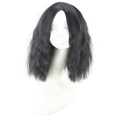 Synthetic Wig Curly / Natural Wave / Jerry Curl Bob Haircut / Layered Haircut / Asymmetrical Haircut Synthetic Hair Natural Hairline / For Black Women Black Wig Women's Short / Medium Length Capless
