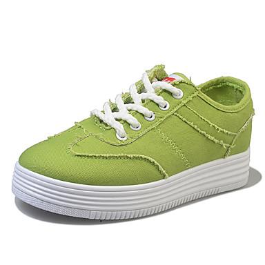 Dame Sko Denim Vår Høst Komfort Flate sko Gange Flat hæl Rund Tå Snøring til Avslappet Formell Hvit Svart Grønn Rosa