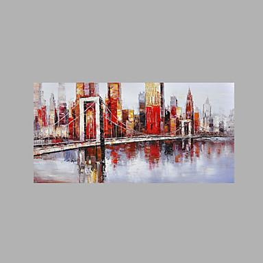 Pintados à mão Abstrato Horizontal, Estilo Praia Retro Tela de pintura Pintura a Óleo Decoração para casa 1 Painel