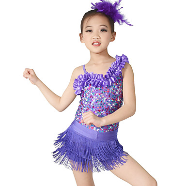 Jazz Leotards Dance Glove Tutus & Skirts Women's Children's Performance Sequined Lycra Sequin Tassel Sleeveless Natural Leotard/Onesie