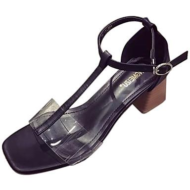 Mulheres Sapatos Couro Ecológico Verão Conforto Solados com Luzes Chinelos e flip-flops Salto de bloco Dedo Aberto Pérolas para Casual