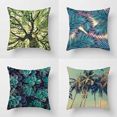 4 pcs Cotton/Linen Pillow Case Pillow Cover, Botanical Classic Novelty Classical Tropical Neoclassical Euro Traditional/Classic Retro
