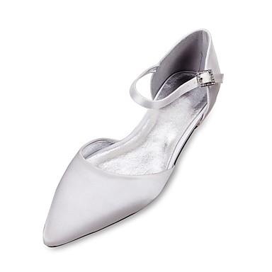 Női Szatén Tavasz / Nyár Kényelmes / D'Orsay és kétrészes Esküvői cipők Lapos Erősített lábujj Csokornyakkendő Kék / Világosbarna / Kristály / Party és Estélyi