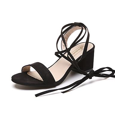 Mulheres Sapatos Couro Ecológico Verão Sandálias Caminhada Salto Robusto Ponta Redonda Combinação para Preto Cinzento Verde Escuro