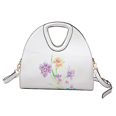 Women Bags PU Shoulder Bag Pattern / Print for Casual All Seasons White Black Blushing Pink