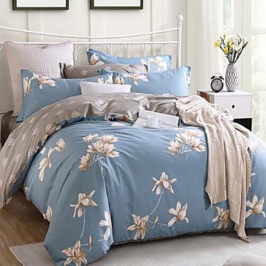 Floral 4 Piece Cotton Cotton 1pc Duvet Cover 2pcs Shams 1pc Flat Sheet