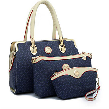 Women Bags All Seasons PU Shoulder Bag 3 Pcs Purse Set for Casual Outdoor Blue Blushing Pink
