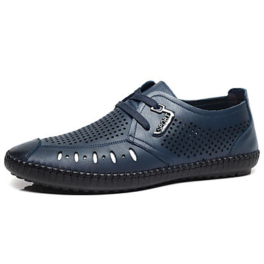 Women's Loafer & Slip-On Comfort Spring Summer Cowhide Casual Black Navy Blue Dark Brown Flat