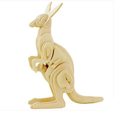 3D Puzzles Jigsaw Puzzle Wood Model Model Building Kit Kangaroo Animal 3D Animals DIY Wood Natural Wood Kid's Adults' Unisex Gift