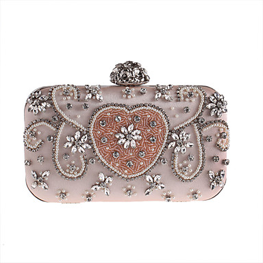 Women's Bags Polyester Evening Bag Rhinestone Appliques Floral Flower for Wedding Event/Party Casual Formal Office & Career All Seasons