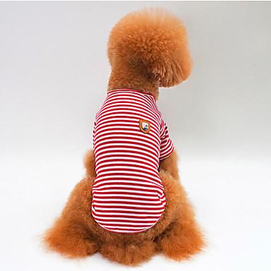 Cachorro Camiseta Roupas para Cães Respirável Casual Riscas Vermelho Verde Azul Ocasiões Especiais Para animais de estimação