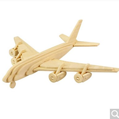 3D Puzzles Jigsaw Puzzle Wood Model Plane / Aircraft 3D DIY Wood Natural Wood 6 Years Old and Above