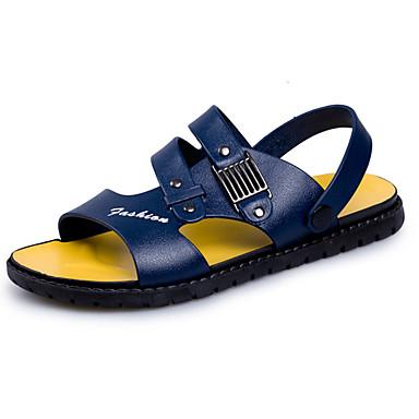 Homens Couro Ecológico Verão Conforto Sandálias Preto / Azul / Castanho Escuro