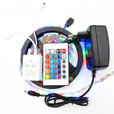5 m Világítás készletek / RGB szalagfények 300 LED 3528 SMD 1 24Keys távirányító / 1 x 12V 2A adapter RGB Cuttable / Vízálló / Dekoratív 12 V 1set / IP65 / Öntapadós