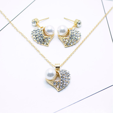 Mulheres Gema Imitação de Pérola Coração Conjunto de jóias - Pingente Branco Conjunto de Jóias Para Casamento / Festa / Ocasião Especial