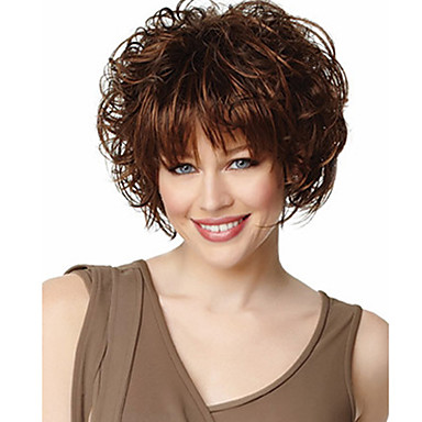 Synthetic Wig Wavy With Bangs Synthetic Hair Wig Women's Short Capless