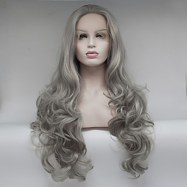 Syntetisk hår Parykker Krop Bølge Blonde Forside Naturlig parykk Medium Lang Brun