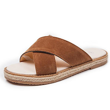 Women's Shoes Flocking Linen Spring Comfort Slippers & Flip-Flops For Casual Black Dark Brown