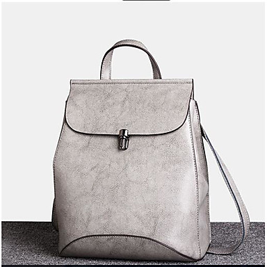 Women's Bags Cowhide Backpack for Casual All Seasons Black Gray
