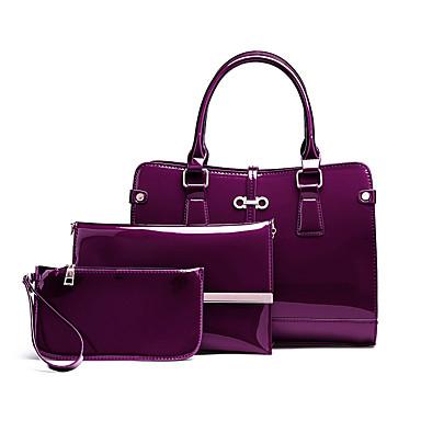 Női Táskák PU táska szettek 3 db erszényes készlet Fekete / Rubin / Bíbor