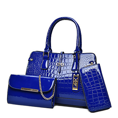 Mulheres Bolsas PU Conjuntos de saco 3 Pcs Purse Set para Casual Todas as Estações Azul Preto Vermelho Rosa Bege