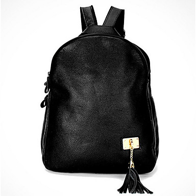Mulheres Bolsas Couro de Gado mochila para Casual Esportes Formal Viajar Todas as Estações Preto