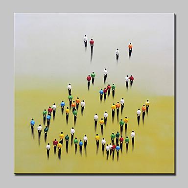 Pintados à mão Pessoas Quadrada, Abstracto Modern Tela de pintura Pintura a Óleo Decoração para casa 1 Painel