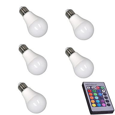 5pcs 5W 400lm E26 / E27 LED Smart Bulbs A60(A19) 15 LED Beads SMD 5050 Dimmable Decorative Remote-Controlled RGBW 85-265V