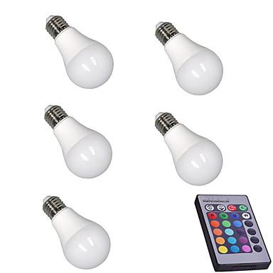 5pcs 5W 400lm E26 / E27 Okos LED izzók A60(A19) 15 LED gyöngyök SMD 5050 Tompítható Dekoratív Távvezérlésű RGBW 85-265V