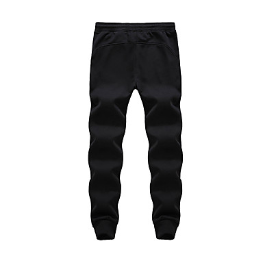 Men's Running Pants Casual/Daily Pants/Trousers/Overtrousers for Running/Jogging Exercise & Fitness Cotton Polyester Loose White Black L