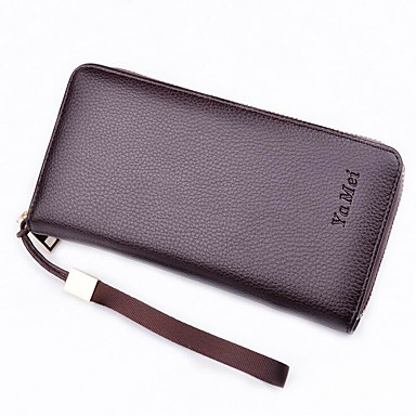 Men Bags PU Polyester Checkbook Wallet for Event/Party Daily Office & Career All Seasons Black Coffee Dark Coffee